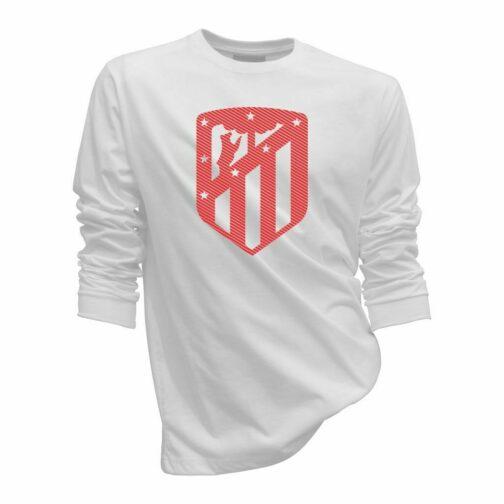 Atletico Madrid Sportski Duks Bele Boje Sa Printom Velikog Grba U Jednoj Boji