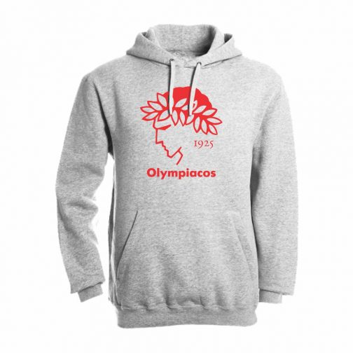 Olympiacos 1925 Duks Sa Kapuljačom Svetlo Sive Boje Sa Velikim Printom Na Grudima