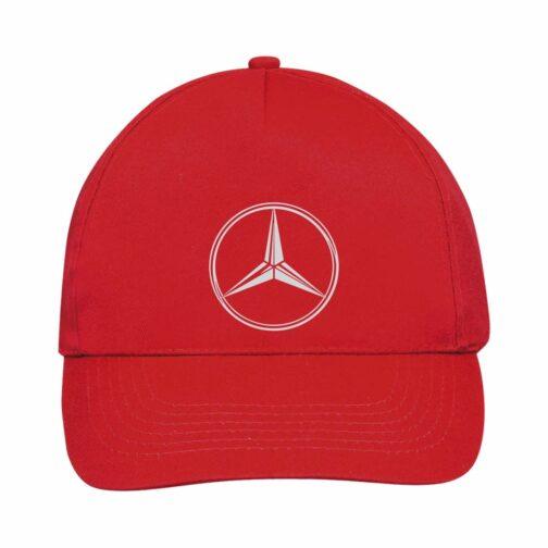 Mercedes Kačket u crvenoj boji sa printom napred