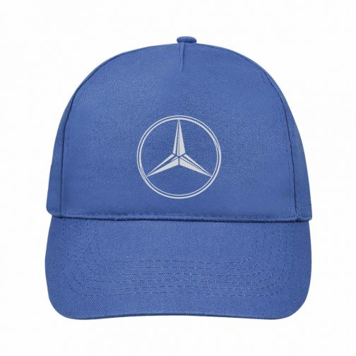 Mercedes Kačket u plavoj boji sa printom napred