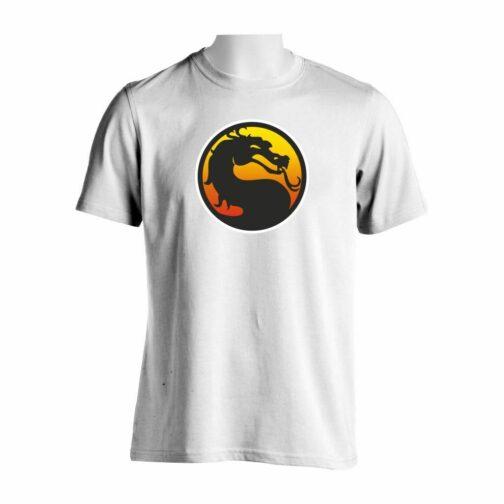 Majica bele boje sa printom Mortal Kombat Logo