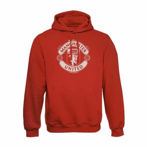 Manchester United Veliki Grb Crte Duks Sa Kapuljačom U Crvenoj Boji